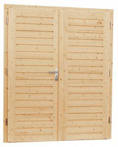 Vuren dubbele dichte opdekdeur met 5-puntssluiting, 169 x 20