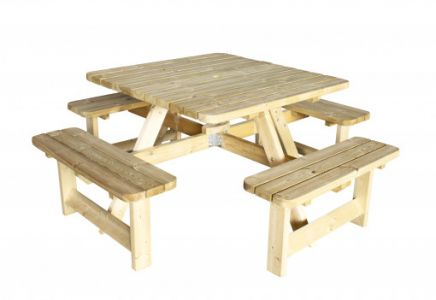 Picknicktafel Vierkant 40mm dik bladmaat 115x115cm