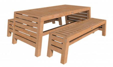 Hillhout douglas tuinset Riva 2xbank en 1xtafel onbeh.
