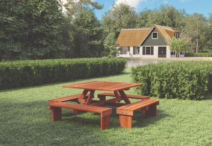 Picknicktafel vierkant Hardhout L210xB210xH75cm