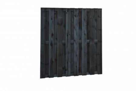 Grenen tuinscherm 18-pl 15mm 180x180cm zwart gedomp. recht