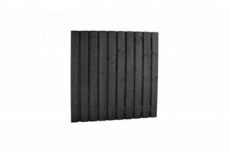 Grenen tuinscherm 21-pl 15mm 180x180cm zwart recht