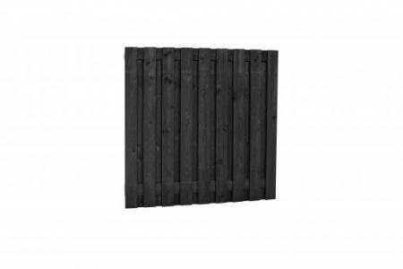 Grenen tuinscherm 19-pl 15mm 180x180cm zwart recht