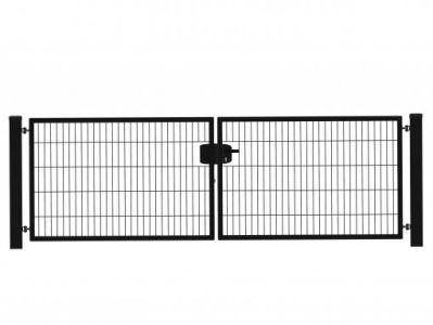 Hillfence metalen dubbele poort Eco-line 300x100cm zwart