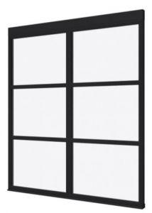Steellook glaswand P 1980x2300 + stelkozijnset ZWART gespot