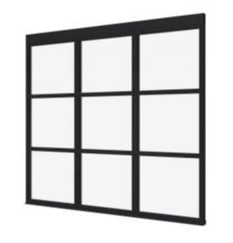 Steellook glaswand K 2480x2300 + stelkozijnset ZWART gespot