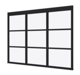 Steellook glaswand R 2980x2300 + stelkozijnset ZWART gespot