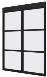 Steellook glaswand G 1667x2300 + stelkozijnset ZWART gespot