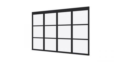 Steellook glaswand T 3480x2300 + stelkozijnset ZWART gespot