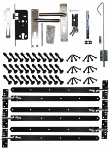 Beslagset zwart gecoat t.b.v opgeklampte deur XL dubbel