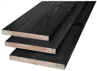 Planken douglas 22x200mm fijnbezaagd zwart gespoten