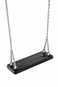 Schommelzit zwart rubber met ketting