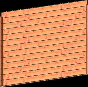 Trendhout wandmodule E blokhutprofiel 3405x2200mm onbehand.