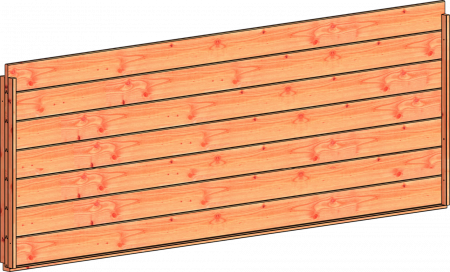 Trendhout wandmodule G blokhutprofiel 3405x1170mm onbehand.